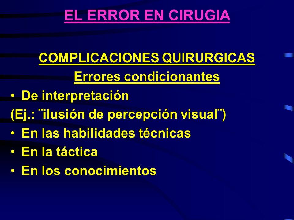 EL ERROR EN CIRUGIA COMPLICACIONES QUIRURGICAS Errores condicionantes De interpretación (Ej.: ¨ilusión de percepción visual¨) En las habilidades técni