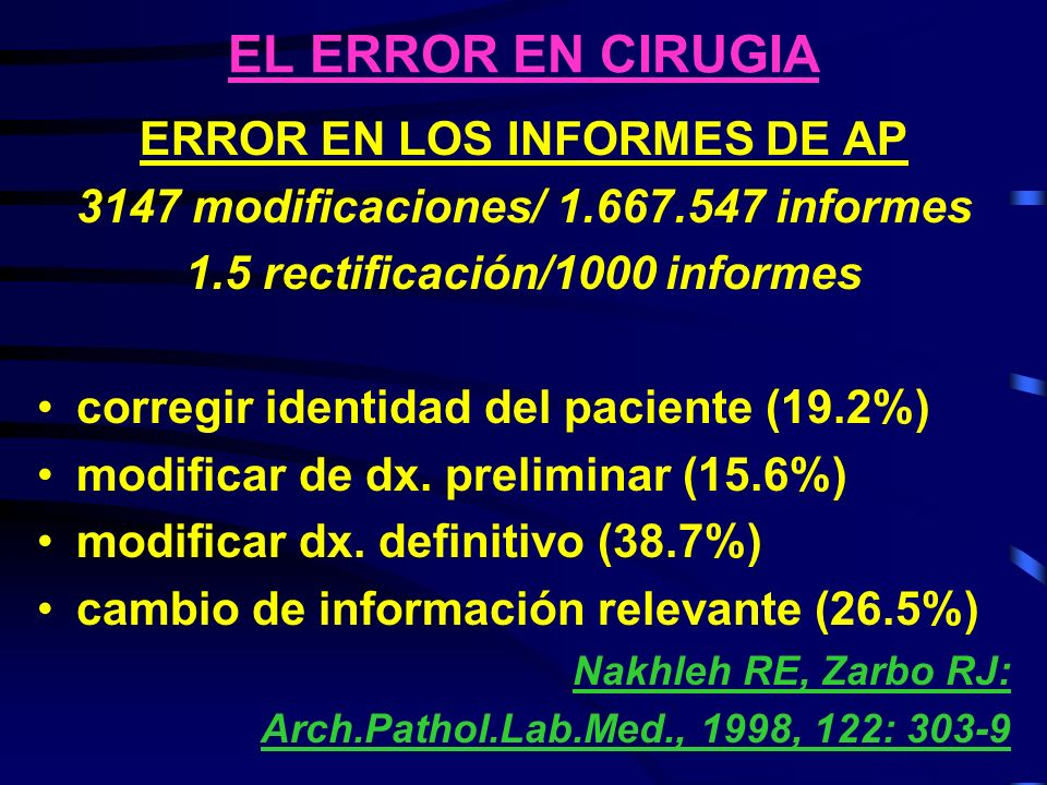 EL ERROR EN CIRUGIA ERROR EN LOS INFORMES DE AP 3147 modificaciones/ 1.667.547 informes 1.5 rectificación/1000 informes corregir identidad del pacient