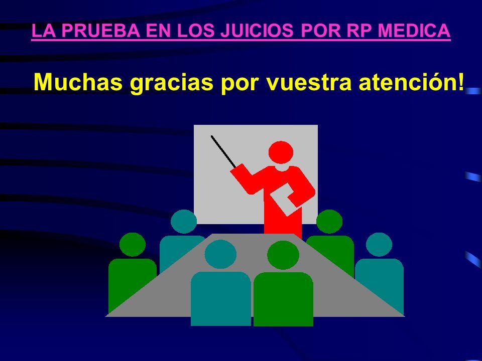 LA PRUEBA EN LOS JUICIOS POR RP MEDICA Muchas gracias por vuestra atención!
