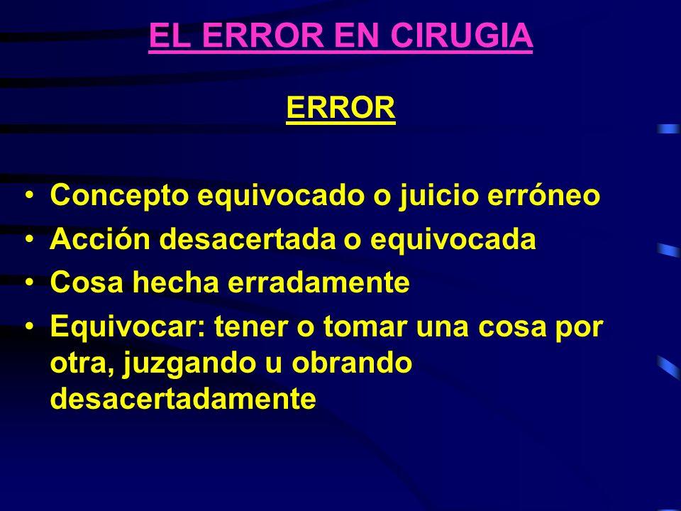 EL ERROR EN CIRUGIA ERROR DE EJECUCION Falla de la acción planeada para ser completada como era la intención ERROR DE PLANEAMIENTO El uso de un plan errado para lograr un objetivo I.O.M., 2000