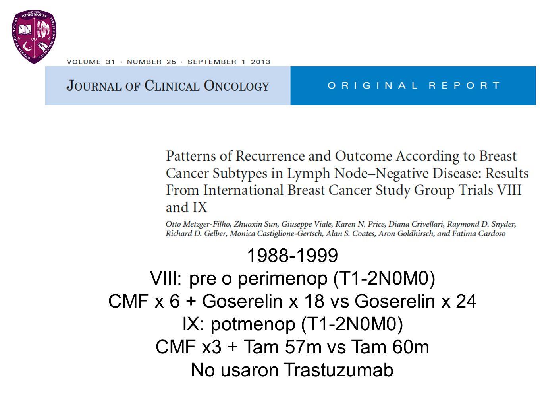 1988-1999 VIII: pre o perimenop (T1-2N0M0) CMF x 6 + Goserelin x 18 vs Goserelin x 24 IX: potmenop (T1-2N0M0) CMF x3 + Tam 57m vs Tam 60m No usaron Tr