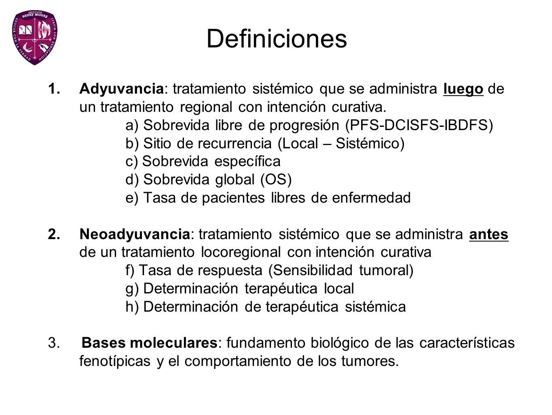 Definiciones 1.Adyuvancia: tratamiento sistémico que se administra luego de un tratamiento regional con intención curativa. a) Sobrevida libre de prog