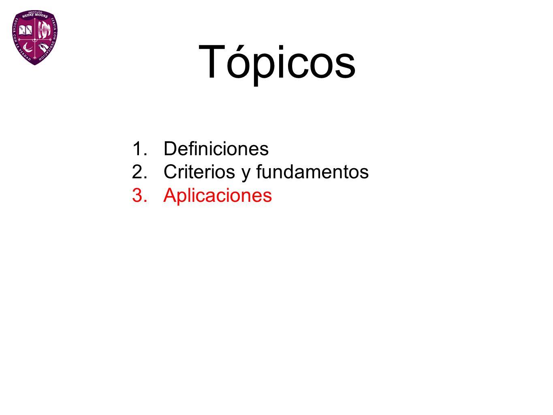 Tópicos 1.Definiciones 2.Criterios y fundamentos 3.Aplicaciones
