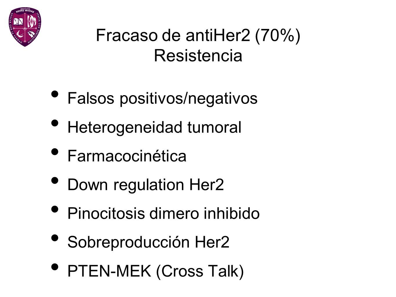 Fracaso de antiHer2 (70%) Resistencia Falsos positivos/negativos Heterogeneidad tumoral Farmacocinética Down regulation Her2 Pinocitosis dimero inhibi