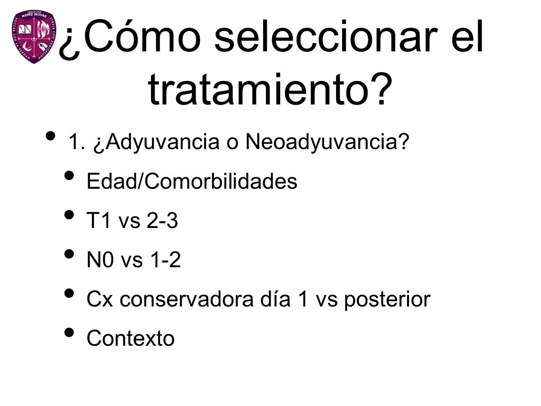 ¿Cómo seleccionar el tratamiento? 1. ¿Adyuvancia o Neoadyuvancia? Edad/Comorbilidades T1 vs 2-3 N0 vs 1-2 Cx conservadora día 1 vs posterior Contexto