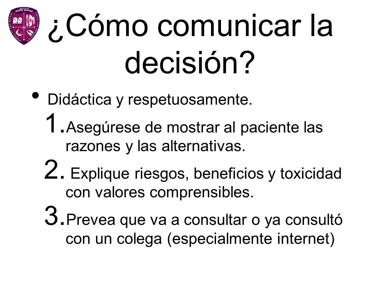 ¿Cómo comunicar la decisión? Didáctica y respetuosamente. 1. Asegúrese de mostrar al paciente las razones y las alternativas. 2. Explique riesgos, ben