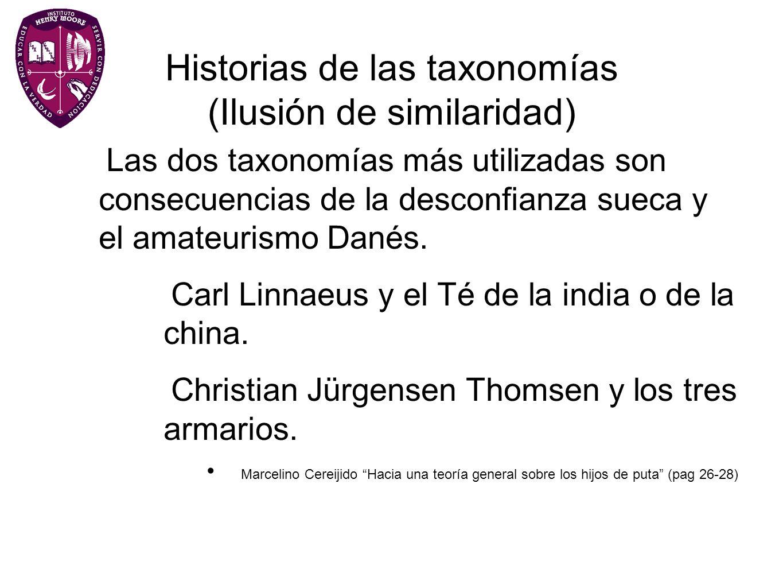 Historias de las taxonomías (Ilusión de similaridad) Las dos taxonomías más utilizadas son consecuencias de la desconfianza sueca y el amateurismo Dan