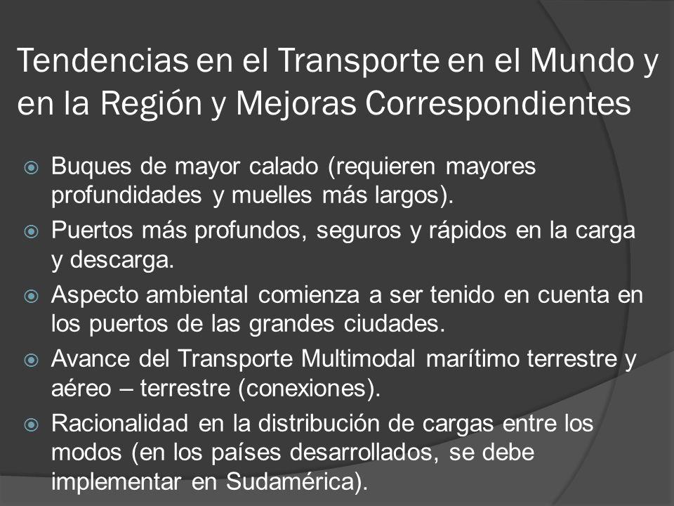 Tendencias en el Transporte en el Mundo y en la Región y Mejoras Correspondientes Buques de mayor calado (requieren mayores profundidades y muelles más largos).