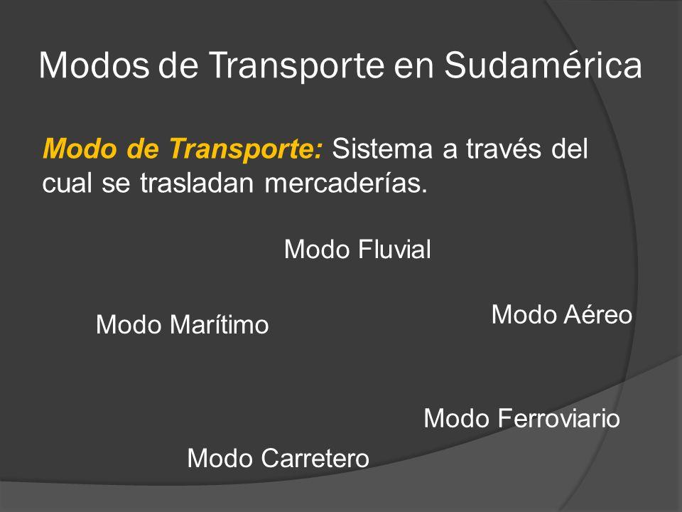 Modos de Transporte en Sudamérica Modo de Transporte: Sistema a través del cual se trasladan mercaderías.