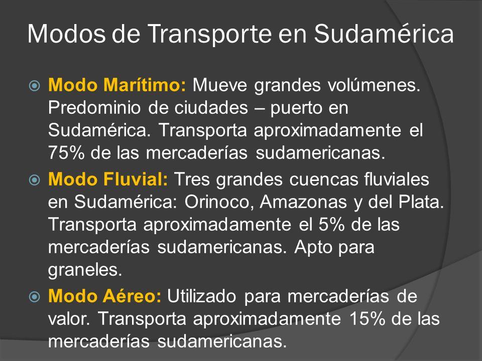 Modos de Transporte en Sudamérica Modo Marítimo: Mueve grandes volúmenes.