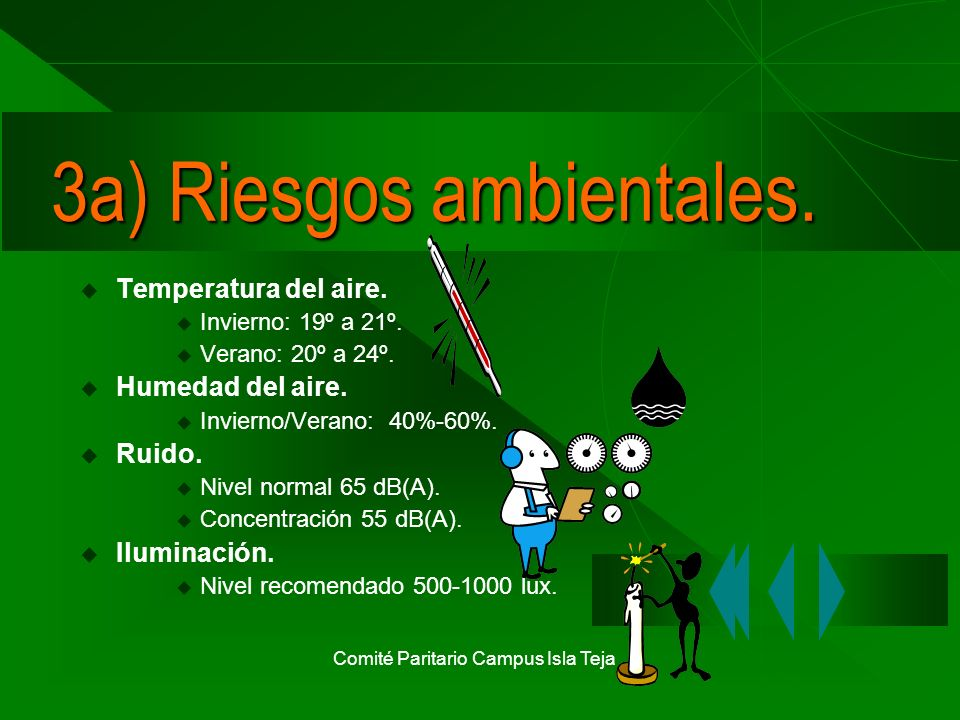 Comité Paritario Campus Isla Teja 3a) Riesgos ambientales. Temperatura del aire. Invierno: 19º a 21º. Verano: 20º a 24º. Humedad del aire. Invierno/Ve