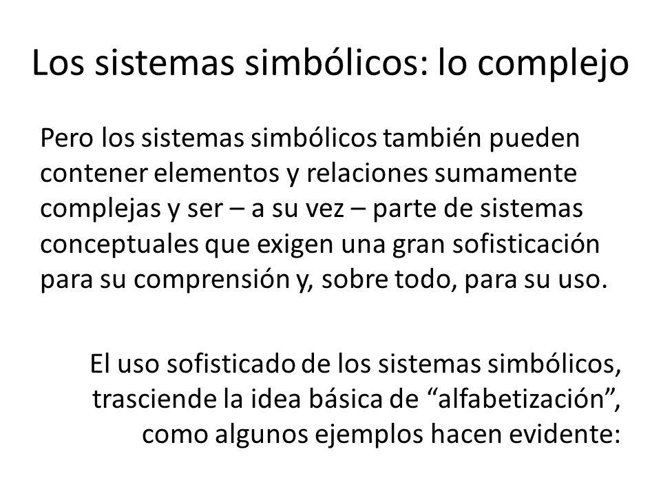 Los sistemas simbólicos: lo complejo Pero los sistemas simbólicos también pueden contener elementos y relaciones sumamente complejas y ser – a su vez