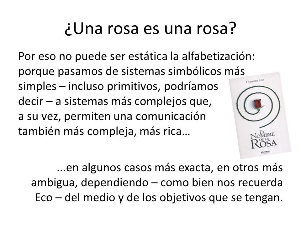 ¿Una rosa es una rosa? Por eso no puede ser estática la alfabetización: porque pasamos de sistemas simbólicos más simples – incluso primitivos, podría