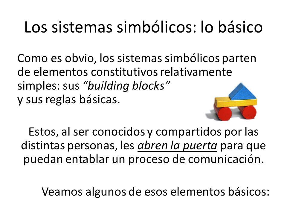 Como es obvio, los sistemas simbólicos parten de elementos constitutivos relativamente simples: sus building blocks y sus reglas básicas. Estos, al se