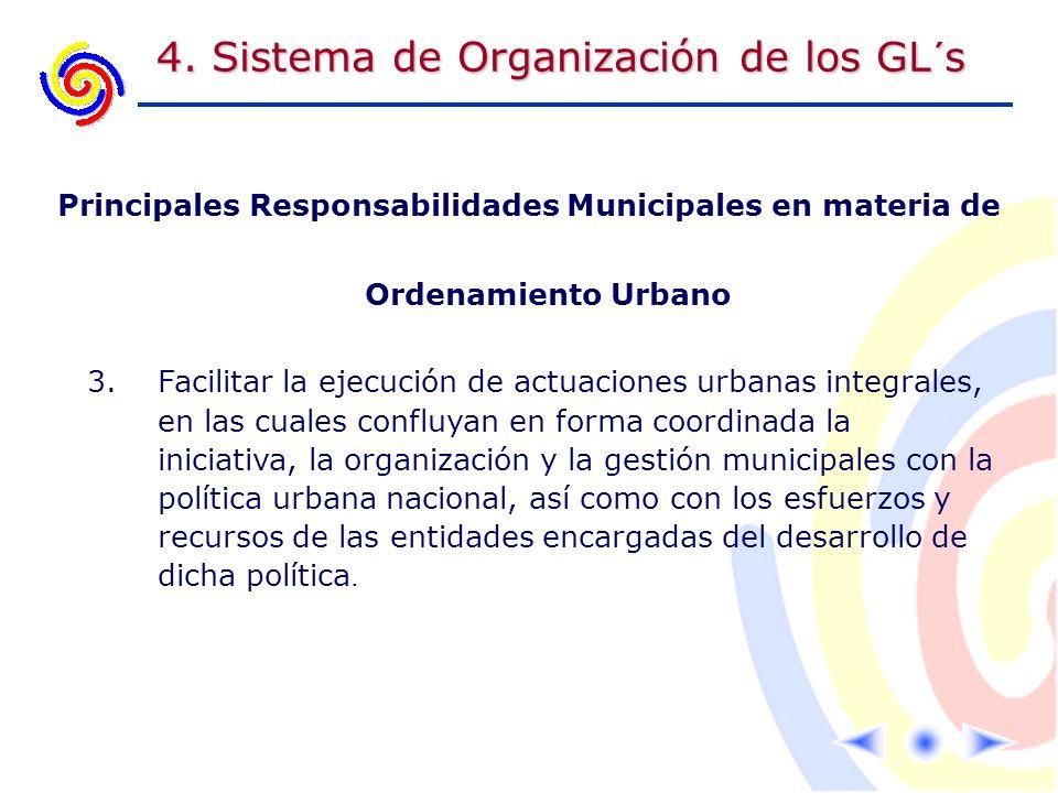 4. Sistema de Organización de los GL´s Principales Responsabilidades Municipales en materia de Ordenamiento Urbano 3.Facilitar la ejecución de actuaci