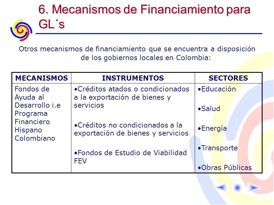6. Mecanismos de Financiamiento para GL´s MECANISMOSINSTRUMENTOSSECTORES Fondos de Ayuda al Desarrollo i.e Programa Financiero Hispano Colombiano Créd