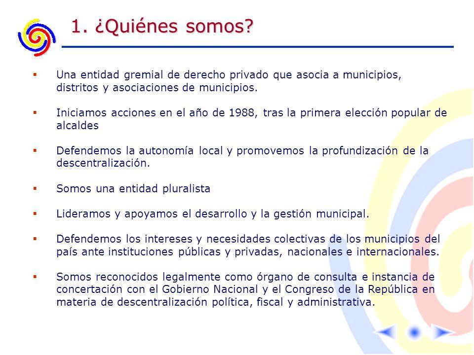 1. ¿Quiénes somos? Una entidad gremial de derecho privado que asocia a municipios, distritos y asociaciones de municipios. Iniciamos acciones en el añ
