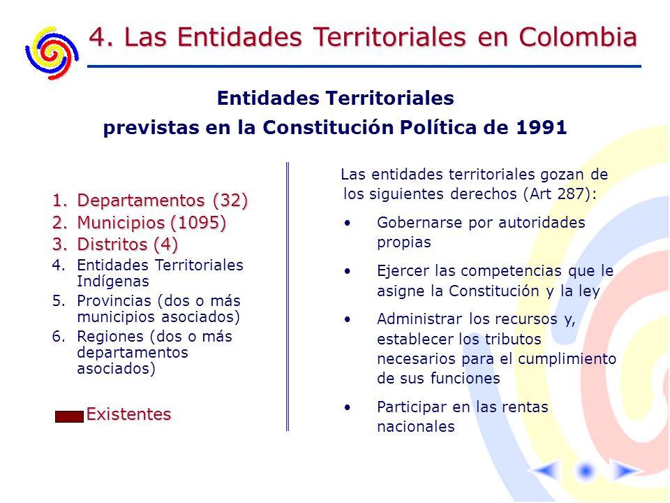 4. Las Entidades Territoriales en Colombia Entidades Territoriales previstas en la Constitución Política de 1991 1.Departamentos (32) 2.Municipios (10