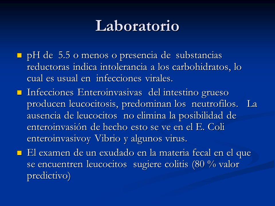 Laboratorio pH de 5.5 o menos o presencia de substancias reductoras indica intolerancia a los carbohidratos, lo cual es usual en infecciones virales.