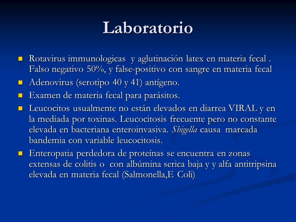 Laboratorio Rotavirus immunologicas y aglutinación latex en materia fecal.