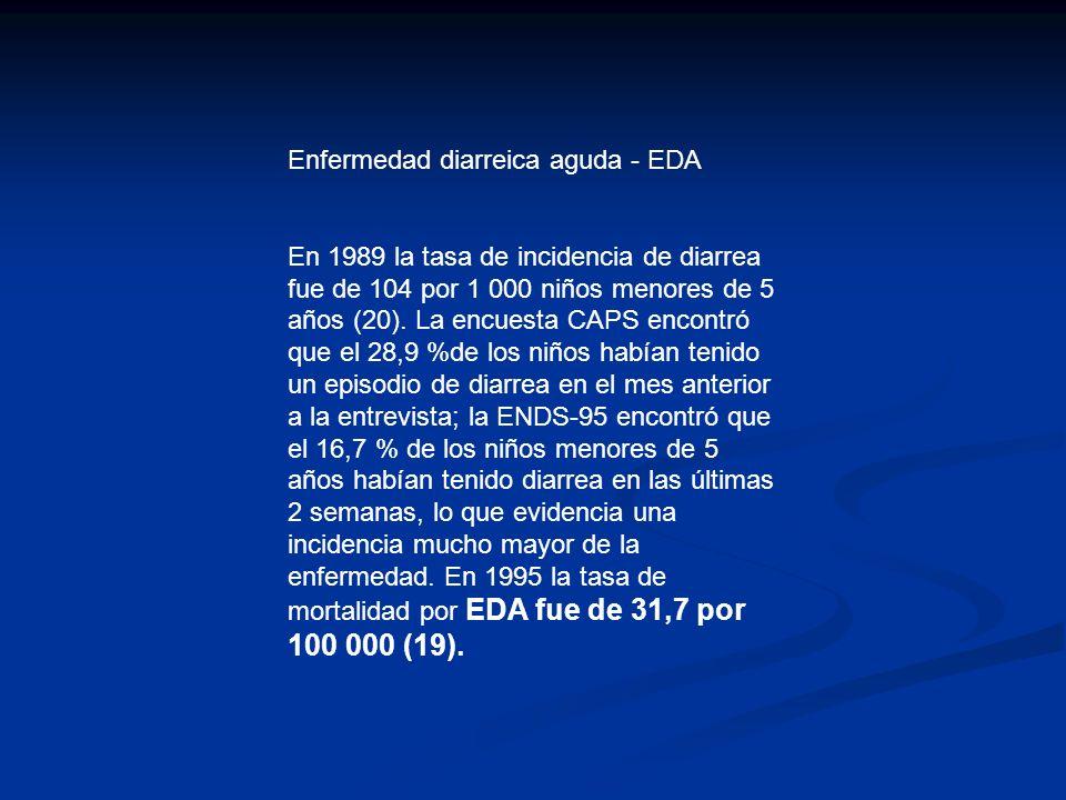 Enfermedad diarreica aguda - EDA En 1989 la tasa de incidencia de diarrea fue de 104 por 1 000 niños menores de 5 años (20).