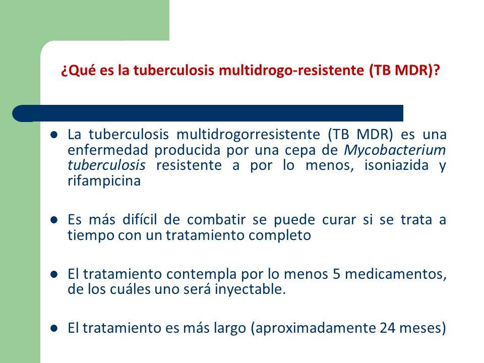Riesgo de no detectar a tiempo la resistencia Generalmente fracasa al tratamiento regular para TBC y puede contagiar estas cepas resistentes a personas de su entorno.
