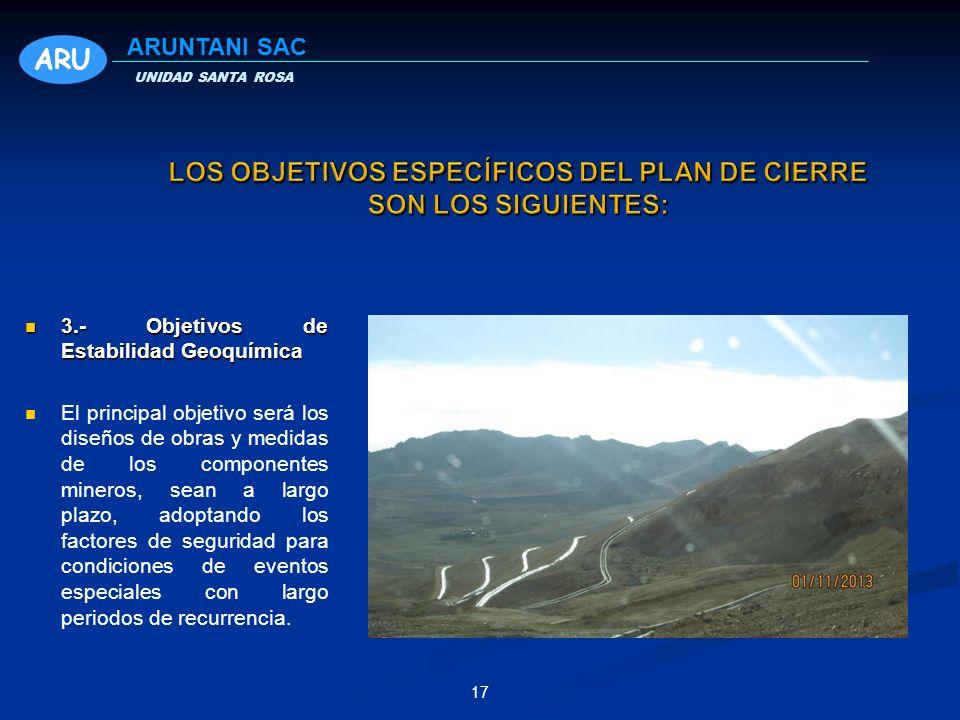 3.- Objetivos de Estabilidad Geoquímica 3.- Objetivos de Estabilidad Geoquímica El principal objetivo será los diseños de obras y medidas de los compo