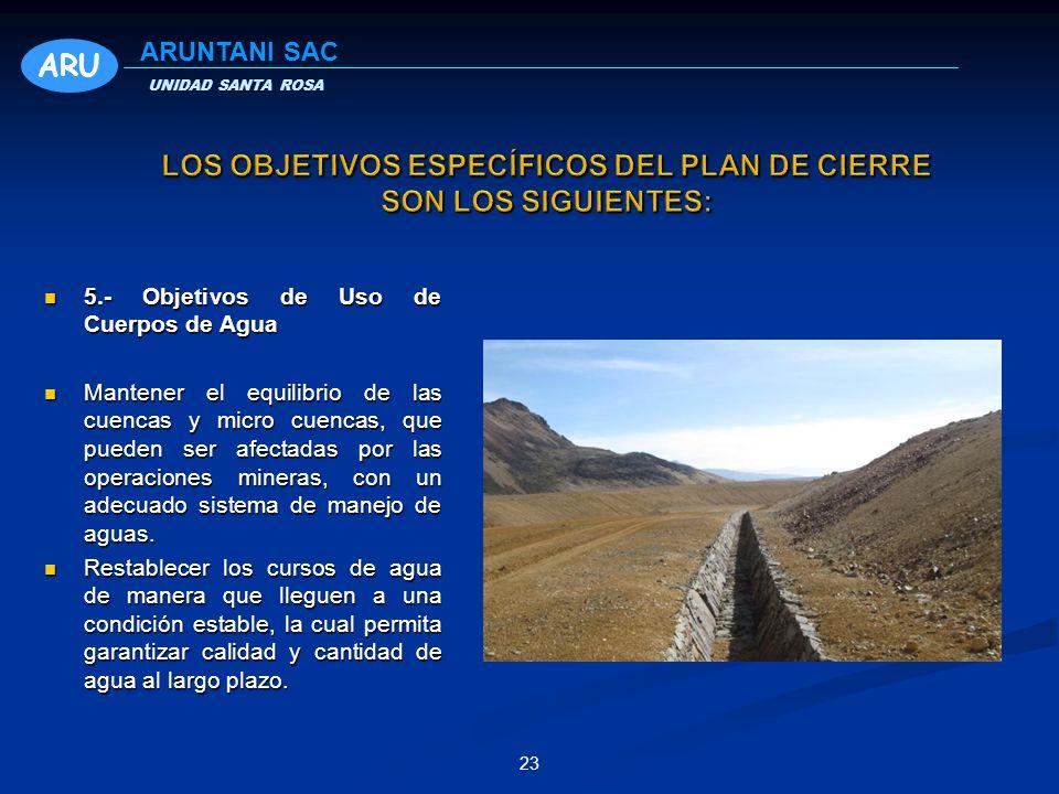 23 5.- Objetivos de Uso de Cuerpos de Agua 5.- Objetivos de Uso de Cuerpos de Agua Mantener el equilibrio de las cuencas y micro cuencas, que pueden ser afectadas por las operaciones mineras, con un adecuado sistema de manejo de aguas.