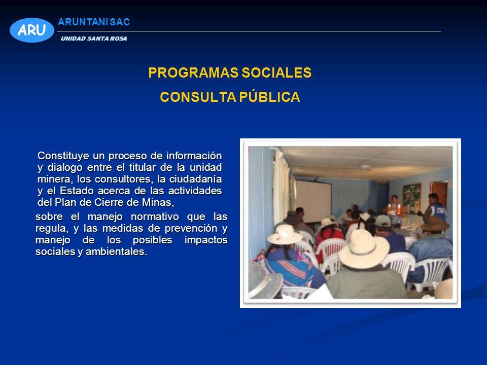 CONSULTA PÚBLICA Constituye un proceso de información y dialogo entre el titular de la unidad minera, los consultores, la ciudadanía y el Estado acerc