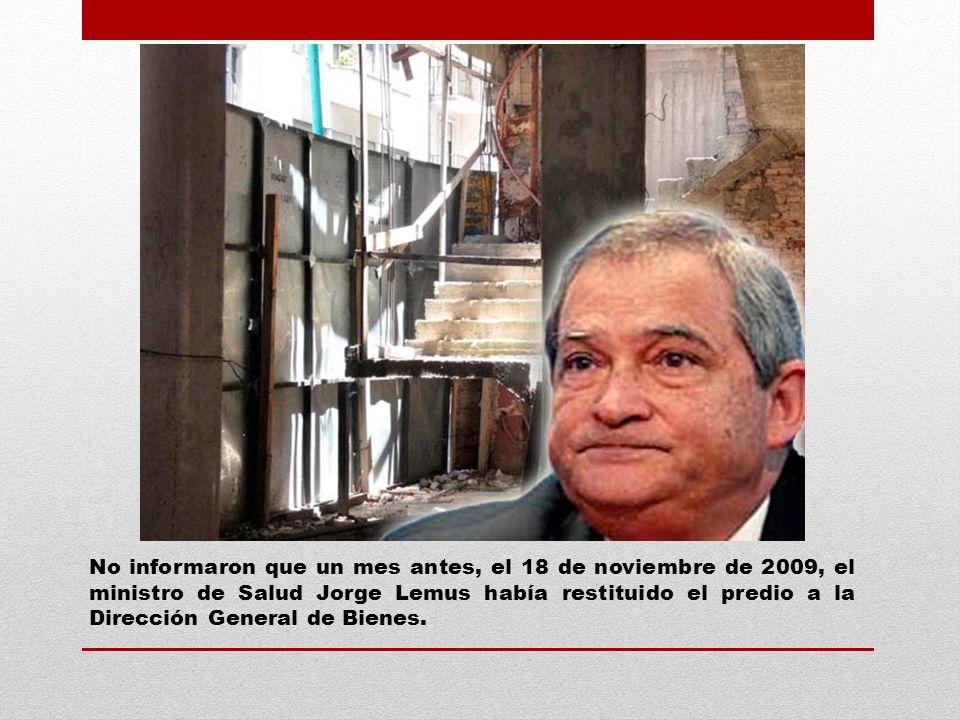 28 de diciembre de 2009, la Dirección General de Recursos Físicos de Salud informó a Pedreira, que no se continuaría con la obra por falta de asignación presupuestaria.