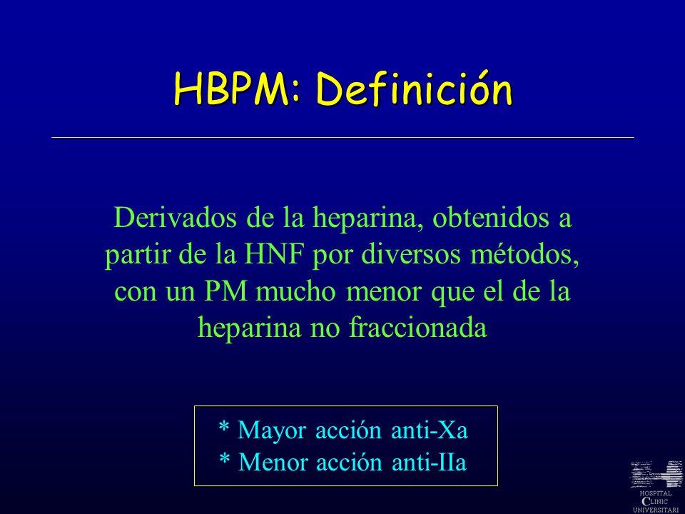 HBPM: Definición Derivados de la heparina, obtenidos a partir de la HNF por diversos métodos, con un PM mucho menor que el de la heparina no fracciona