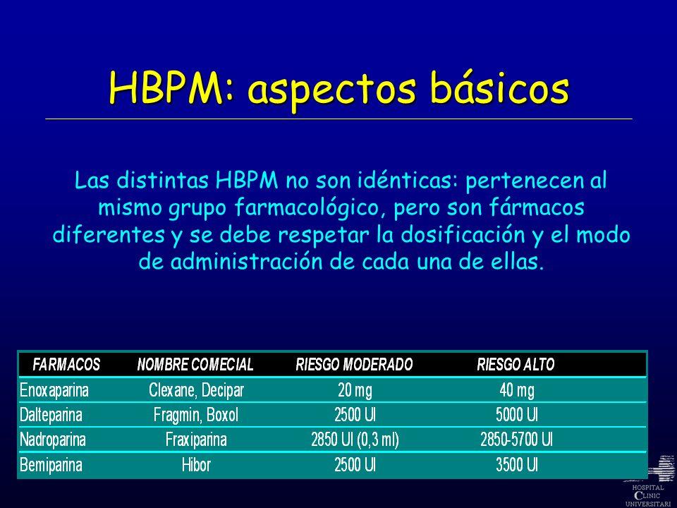 HBPM: aspectos básicos Las distintas HBPM no son idénticas: pertenecen al mismo grupo farmacológico, pero son fármacos diferentes y se debe respetar l