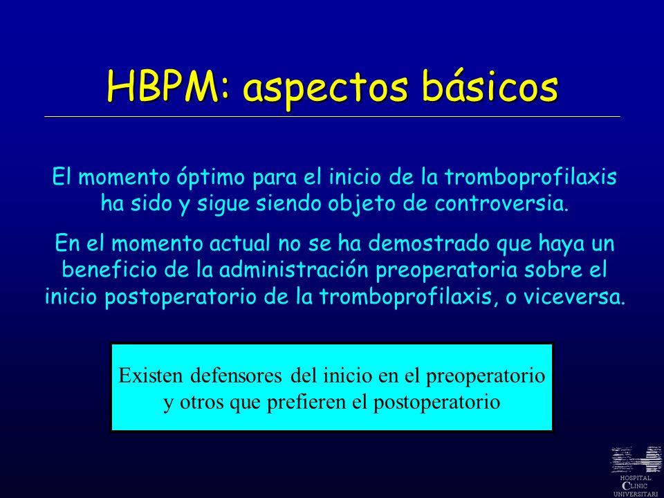 HBPM: aspectos básicos El momento óptimo para el inicio de la tromboprofilaxis ha sido y sigue siendo objeto de controversia. En el momento actual no