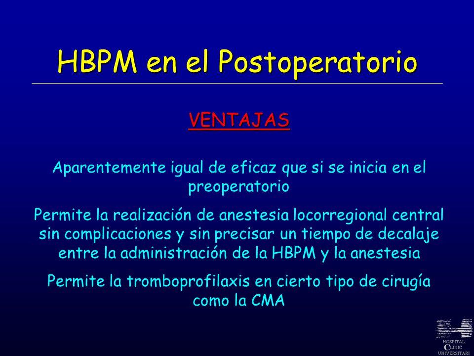 HBPM en el Postoperatorio VENTAJAS Aparentemente igual de eficaz que si se inicia en el preoperatorio Permite la realización de anestesia locorregiona