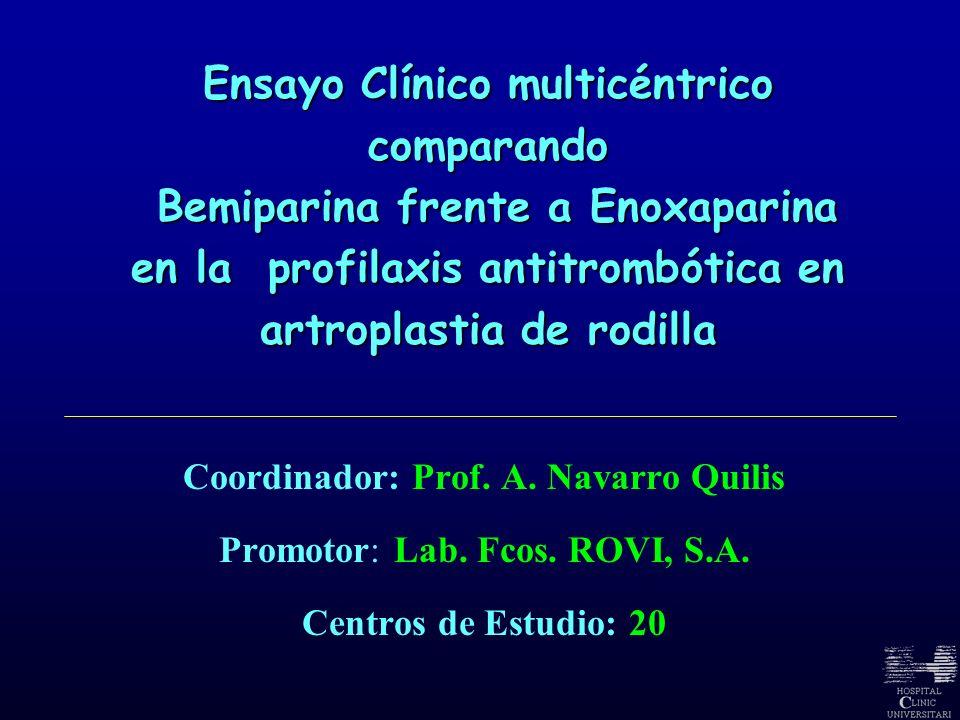 Coordinador: Prof. A. Navarro Quilis Promotor: Lab. Fcos. ROVI, S.A. Centros de Estudio: 20 Ensayo Clínico multicéntrico comparando Bemiparina frente