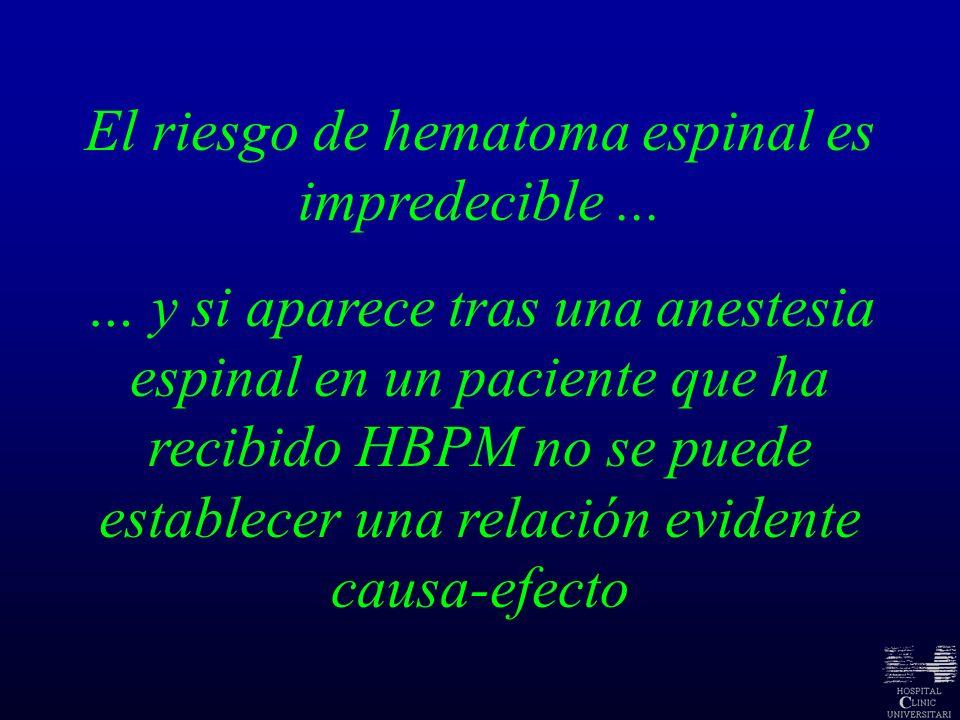El riesgo de hematoma espinal es impredecible... … y si aparece tras una anestesia espinal en un paciente que ha recibido HBPM no se puede establecer