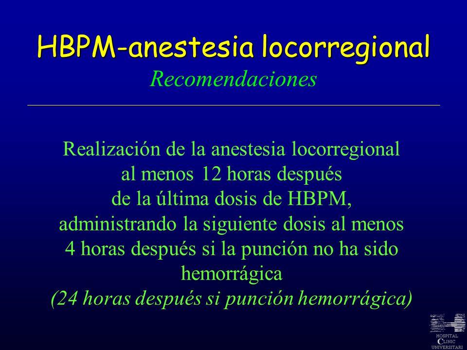 HBPM-anestesia locorregional HBPM-anestesia locorregional Recomendaciones Realización de la anestesia locorregional al menos 12 horas después de la úl