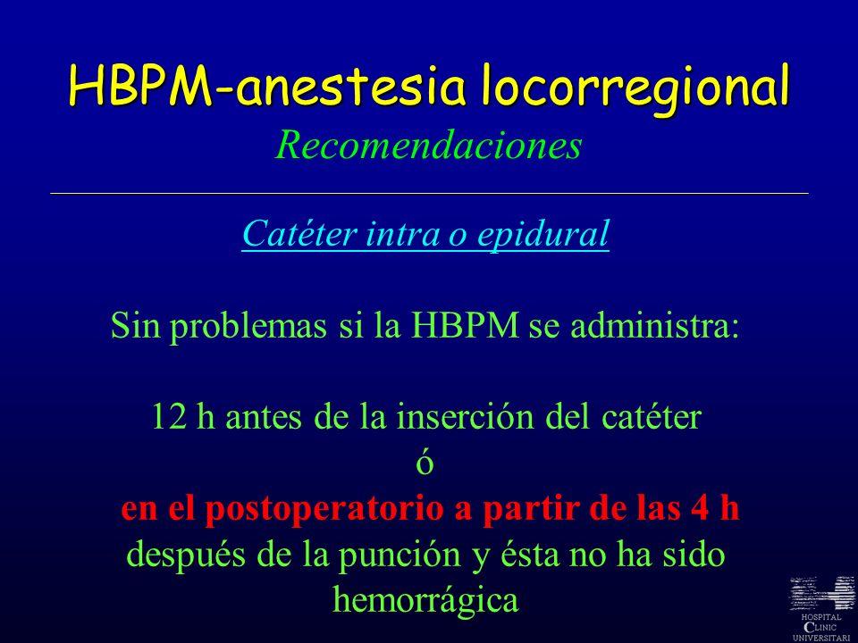 HBPM-anestesia locorregional HBPM-anestesia locorregional Recomendaciones Catéter intra o epidural Sin problemas si la HBPM se administra: 12 h antes