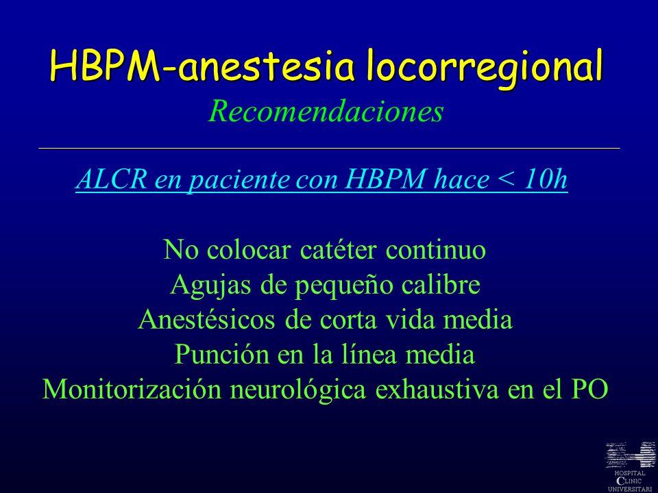 HBPM-anestesia locorregional HBPM-anestesia locorregional Recomendaciones ALCR en paciente con HBPM hace < 10h No colocar catéter continuo Agujas de p