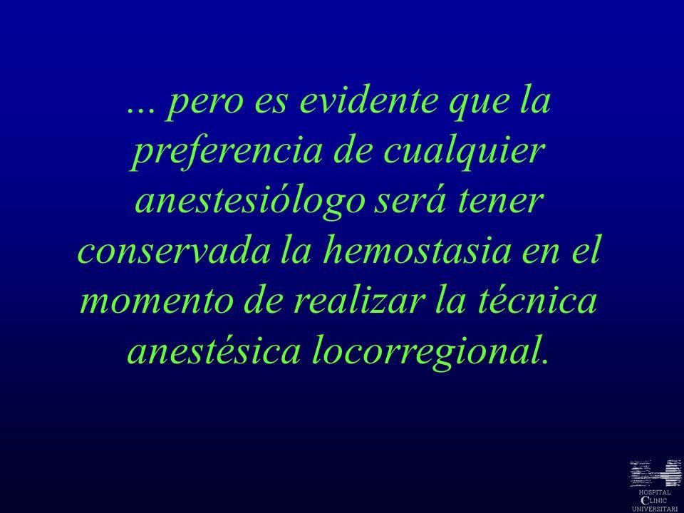 ... pero es evidente que la preferencia de cualquier anestesiólogo será tener conservada la hemostasia en el momento de realizar la técnica anestésica