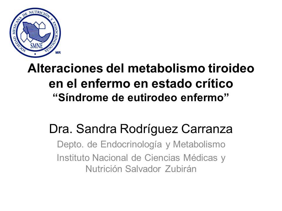 Síndrome del eutiroideo enfermo (SEE) Grupo de anormalidades en los niveles de hormonas tiroideas en pacientes con enfermedades no tiroideas - Son resultado de cambios en el metabolismo periférico y en el transporte de las hormonas tiroideas inducidos por enfermedades no tiroideas Enfermedad leve - moderada: sólo disminución de los niveles de T3 Enfermedad severa: disminución de T3 y de T4 y aumento de T3R
