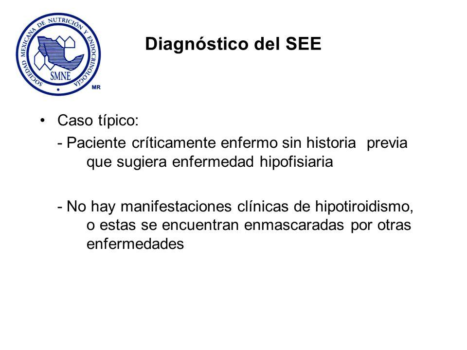 Diagnóstico del SEE Caso típico: - Paciente críticamente enfermo sin historia previa que sugiera enfermedad hipofisiaria - No hay manifestaciones clín
