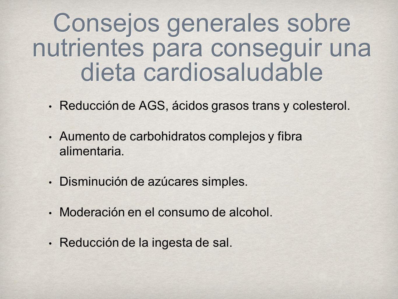 Consejos generales sobre nutrientes para conseguir una dieta cardiosaludable Reducción de AGS, ácidos grasos trans y colesterol.
