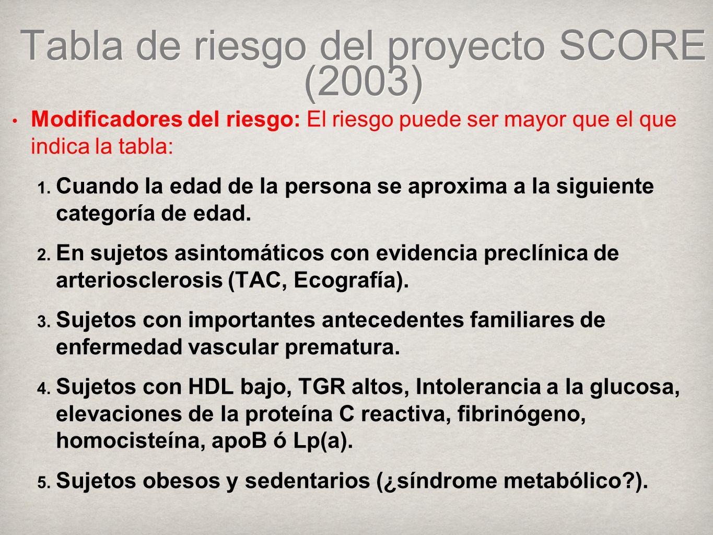 Tabla de riesgo del proyecto SCORE (2003) Modificadores del riesgo: El riesgo puede ser mayor que el que indica la tabla: 1.
