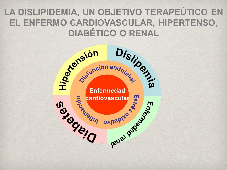 Enfermedad cardiovascular LA DISLIPIDEMIA, UN OBJETIVO TERAPEÚTICO EN EL ENFERMO CARDIOVASCULAR, HIPERTENSO, DIABÉTICO O RENAL