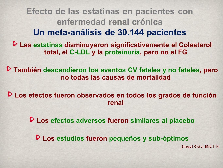 Strippoli G et al BMJ; 1-14 Efecto de las estatinas en pacientes con enfermedad renal crónica Un meta-análisis de 30.144 pacientes Las estatinas disminuyeron significativamente el Colesterol total, el C-LDL y la proteinuria, pero no el FG También descendieron los eventos CV fatales y no fatales, pero no todas las causas de mortalidad Los efectos fueron observados en todos los grados de función renal Los efectos adversos fueron similares al placebo Los estudios fueron pequeños y sub-óptimos