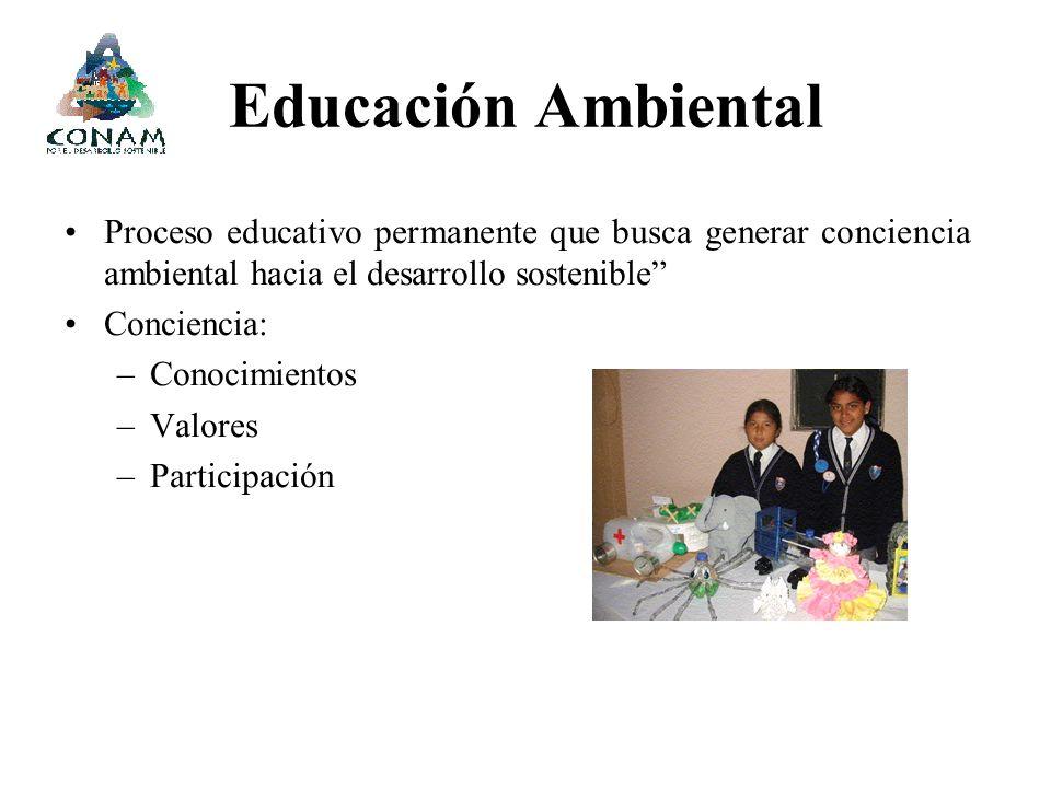 Educación Ambiental Proceso educativo permanente que busca generar conciencia ambiental hacia el desarrollo sostenible Conciencia: –Conocimientos –Val