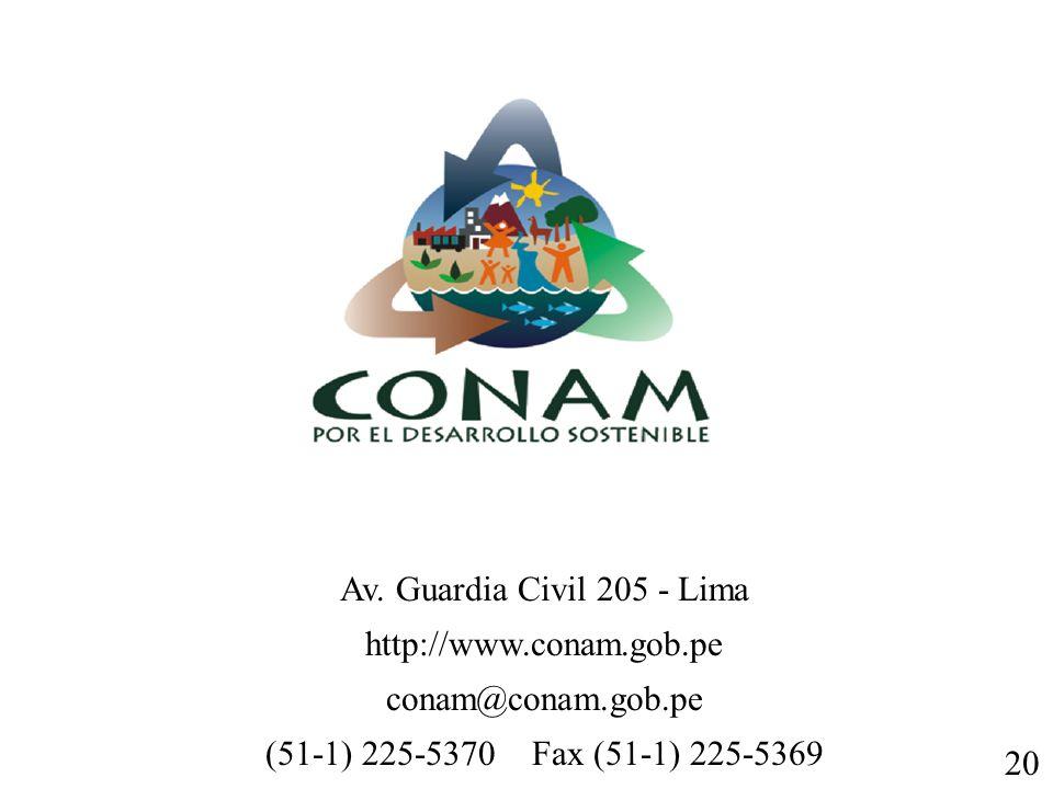 Av. Guardia Civil 205 - Lima http://www.conam.gob.pe conam@conam.gob.pe (51-1) 225-5370 Fax (51-1) 225-5369 20
