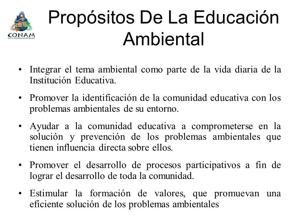 Propósitos De La Educación Ambiental Integrar el tema ambiental como parte de la vida diaria de la Institución Educativa. Promover la identificación d