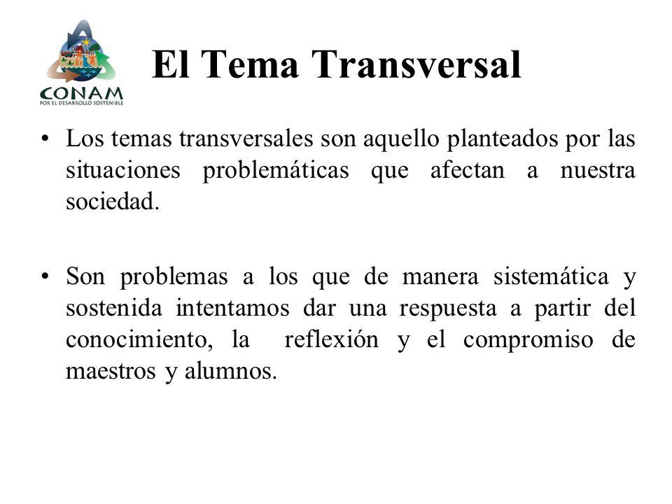 El Tema Transversal Los temas transversales son aquello planteados por las situaciones problemáticas que afectan a nuestra sociedad. Son problemas a l